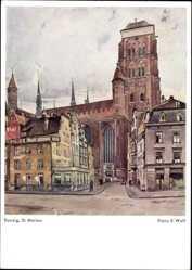 Künstler Ak Wolf, Franz X., Gdańsk Danzig, Blick auf Kirche St. Marien