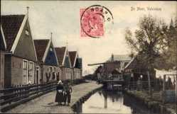 Ak Edam Volendam Nordholland, De Meer, Kanalpartie, Schleuse, Kinder in Tracht