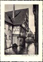 Postcard Ulm an der Donau Baden Württemberg, Das schiefe Haus an der Blau