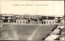 Ak Casablanca Marokko, Les Nouvelles Casernes, Blick auf die Kasernen, Platz