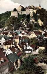Postcard Heidenheim an der Brenz, Blick auf Ort und zum Hellenstein