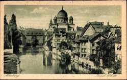 Postcard Nürnberg in Mittelfranken Bayern, Insel Schütt, Blick zur Synagoge, Fluss