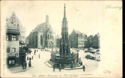 Postcard Nürnberg in Mittelfranken Bayern, Der schöne Brunnen und Marktplatz