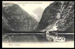 Postcard Loen Norwegen, Nordfjord, Ruderboot auf dem See, HAPAG Nordlandfahrt