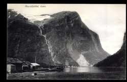 Postcard Loen Norwegen, Ravnefjeldet, Siedlung im Fjord, Gebirge
