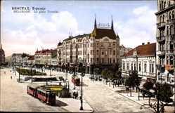 Postcard Belgrad Serbien, La place Terazije, Platz, Straßenbahnen