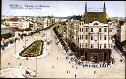 Postcard Belgrad Serbien, La place Terazije, Platz, Gebäude