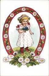 Künstler Ak Voigt, Elisabeth, Mädchen mit Blumenstrauß, Kitsch