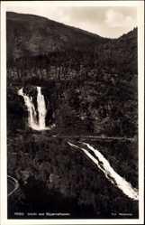 Postcard Norwegen, Utsikt mot Skjaervefossen, Kaskaden, Wasserfall