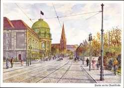 Künstler Ak Poznań Posen, Partie an der Paulikirche, Passanten, Fahne