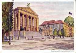 Künstler Ak Poznań Posen, Theater und Polizeipräsidium