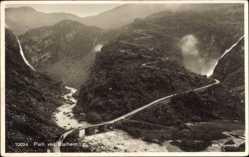 Postcard Norwegen, Partie ved Stalheim, Fliegeraufnahme, Fluss, Wasserfälle, Brücke