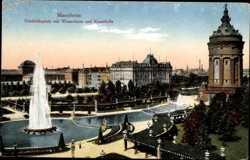 Friedrichsplatz mit Wasserturm und Kunsthalle